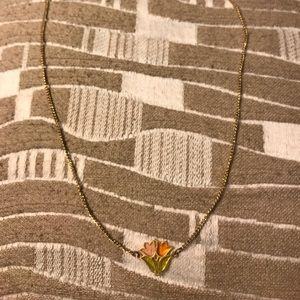 Gold necklace with colored glass tulip pendant